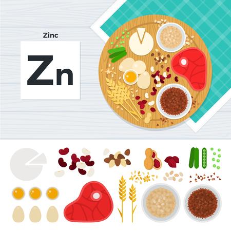 Produkte mit Vitamin Zn Vektorgrafik