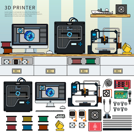 Tools for 3D printing Illustration