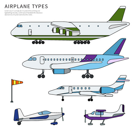 Different airplanes line flat isolated