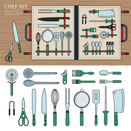 Chef kit on the table Illustration