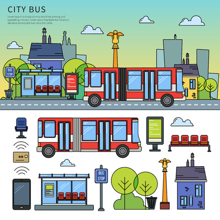 downtown district: Street bus in the city Illustration