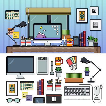 Designer working place Illustration