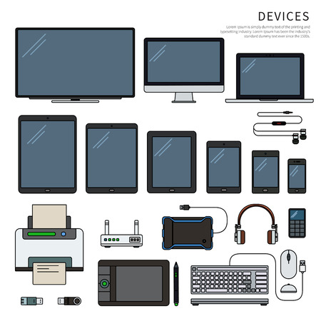 Gadgets isolated on white