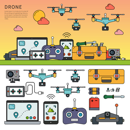 Drone devices line flat vector