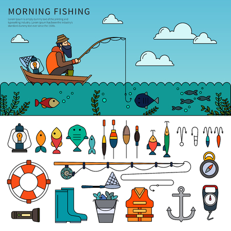 Man fishing flat line vector