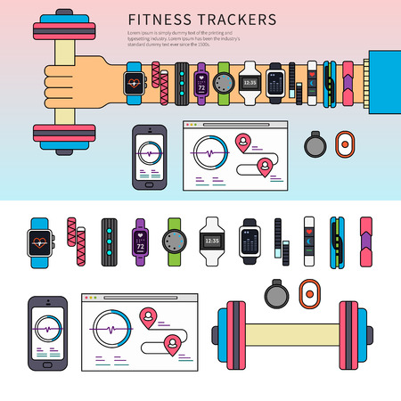 Fitness trackers on the hand Çizim