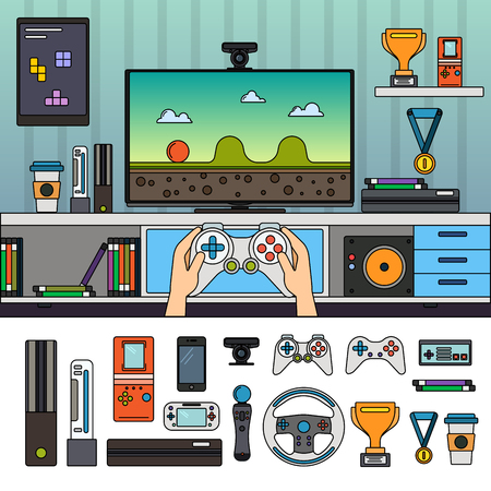 Gamer room with gadgets Çizim
