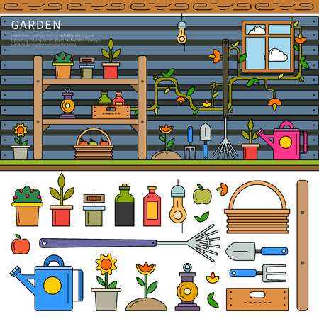 Garden equipment line flat illustration