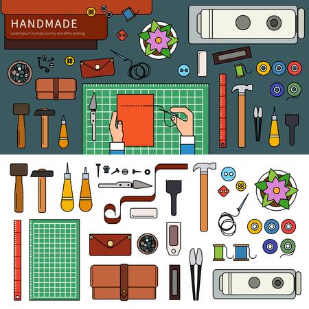 leather goods: Handmade leather goods Illustration