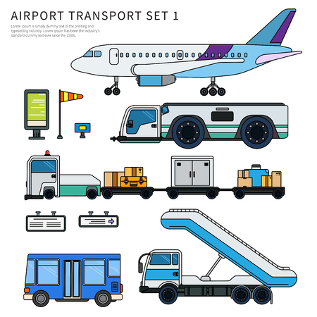 Types of airport working transport isolated on white Illustration
