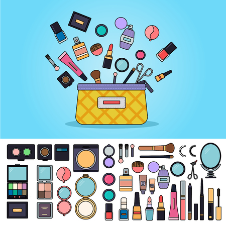 Bag full of cosmetics