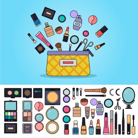 Bag full of cosmetics