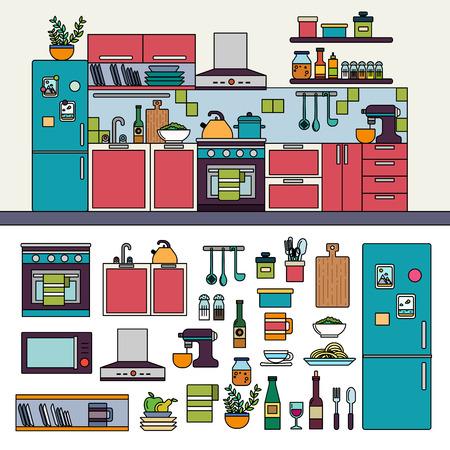 Kitchen interior with modern furniture