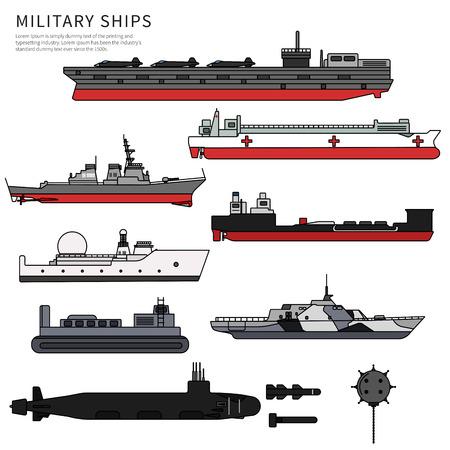 Military ships, warship and battleship on white