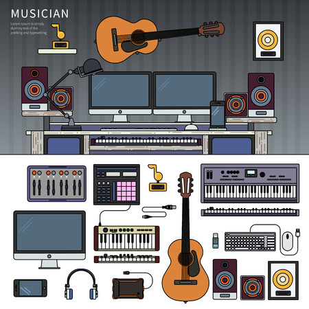 Musician workspace with musical instruments, sound recording studio Illustration