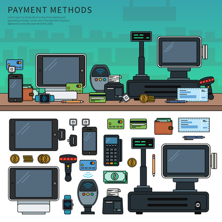 Payment methods with devices on the table