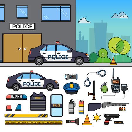 Police car near police department Illustration