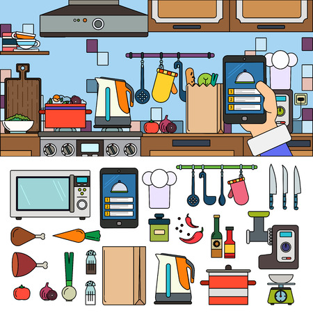 Cooking at home using online app Illustration