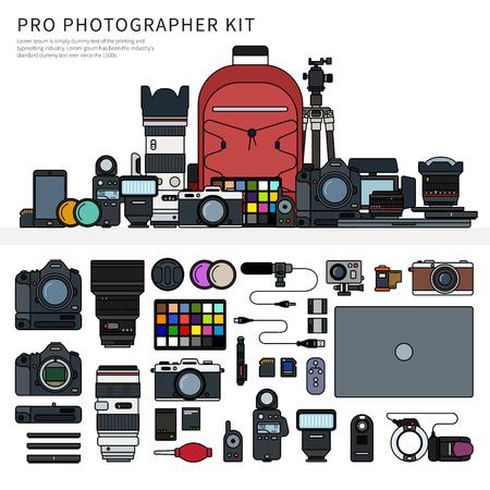 Fotograf narzędzia pojedyncze linia płaski