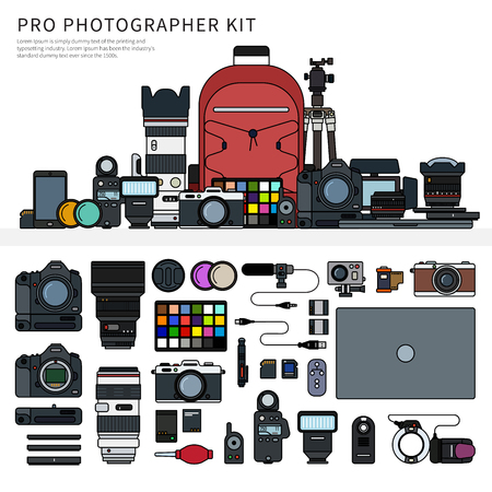 Photographer tools isolated line flat