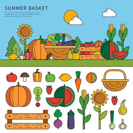 Summer basket with vitamins Illustration