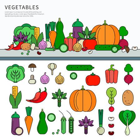 Vegetables set flat line