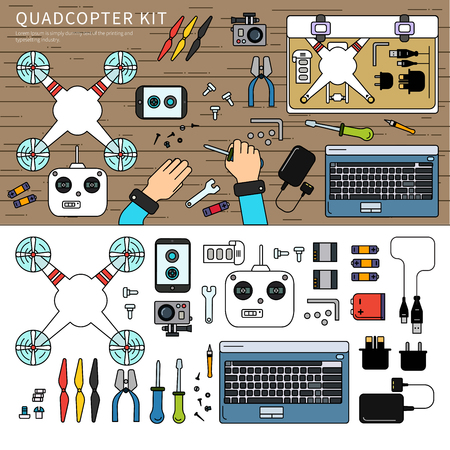 Quadcopter kit on the table