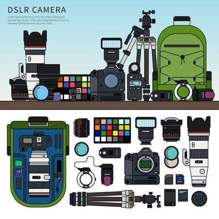 Zestaw aparatów DSLR Ilustracje wektorowe