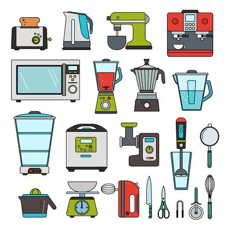 Modern equipment for kitchen Çizim
