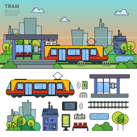 Tram on the street Illustration