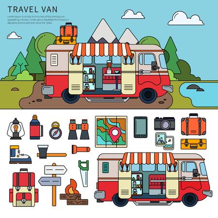 Travel van near the sea.
