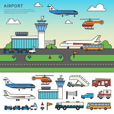 Different types of transport in the airport