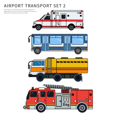 Different airport transport isolated on white