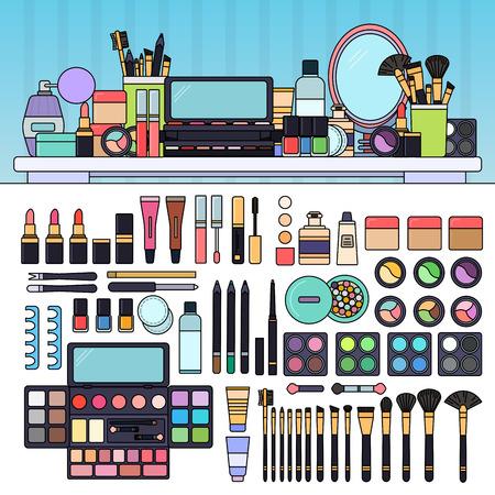 Kit de maquillaje en la tienda de belleza
