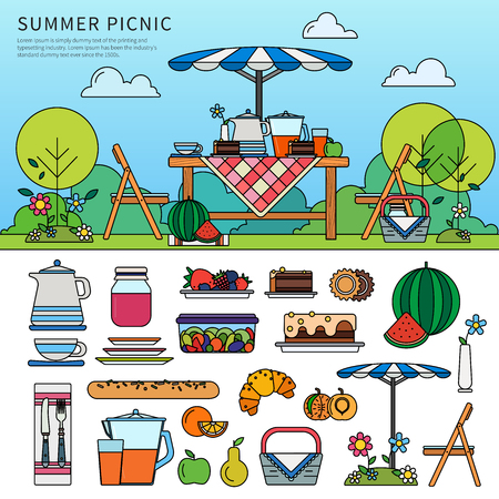 Summer picnic in a sunny day Çizim