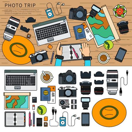 Photos after trip set. Illustration
