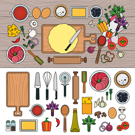 Cooking pizza with ingredients on wooden table