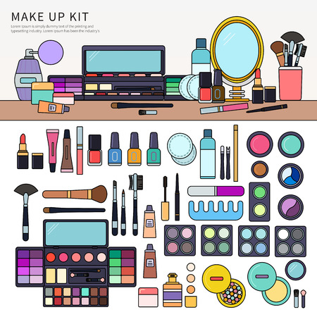 Make up kit on the table.