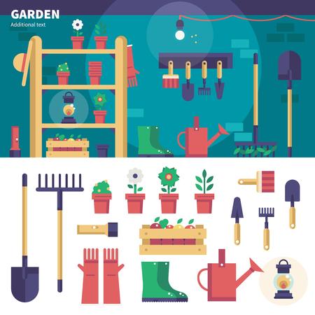 Gardening equipment in the garage Illustration