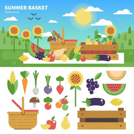 Basket full of fresh fruits and vegetables Çizim