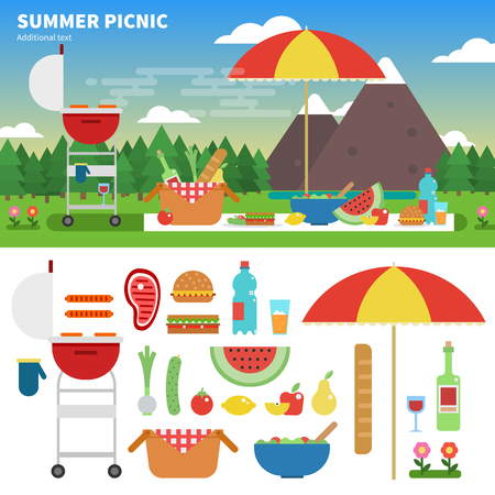 Summer picnic in the mountains