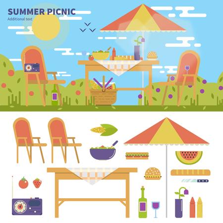Summer picnic in the garden Çizim