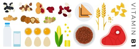 Vitamin B1 products vector flat icons set with buckwheat, pistachios, beef, peanut, milk, corn, beans. Isolated on white background. Фото со стока - 132272143