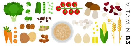 Vegetables and Animal Products with vitamin B3 vector flat icons set with broccoli, mushrooms, beans, corn, tomatoes, carrot, nuts. Isolated on white background. 向量圖像