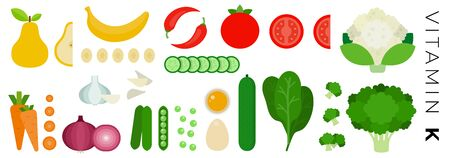 Fruits and Vegetables with vitamin K vector flat icons set with pear, bananas, peas, carrot, tomatoes, broccoli, spinach, eggs. Isolated on white background. Фото со стока - 132270059