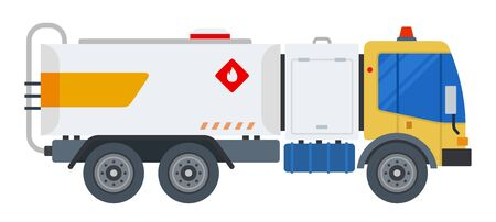 Carrying fuel loads car vector flat design isolated object on white background.