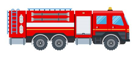 Fire engine vector flat design isolated object on white background.