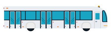 Bus to ferry passengers to the aircraft vector flat material design object. Isolated illustration on white.
