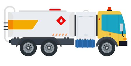 Carrying fuel loads car vector flat material design object. Isolated illustration on white background. Vettoriali