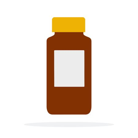 Capacity for drugs vector flat material design isolated object on white background. Stock Illustratie
